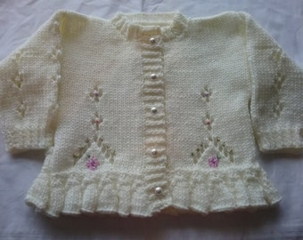 Hand knitted girls cardigan to order