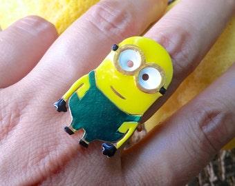 Minion Ring, Minion Gift, Minions Jewelry, Fun ring, Adjustable Ring, Funky Ring, Harajuku fashion, Handmade Ring, Minion Birthday Gift