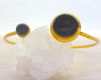 Black Bracelet, Gold Bracelet, Black Cuff , Black Bangle, Open Bracelet, Black Stone Bracelet, Greek Jewelry, Gift for women,