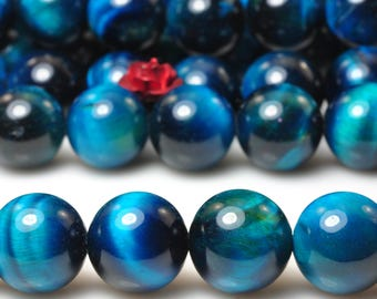 37 pcs of  Blue Tiger Eye smooth round beads in 10mm