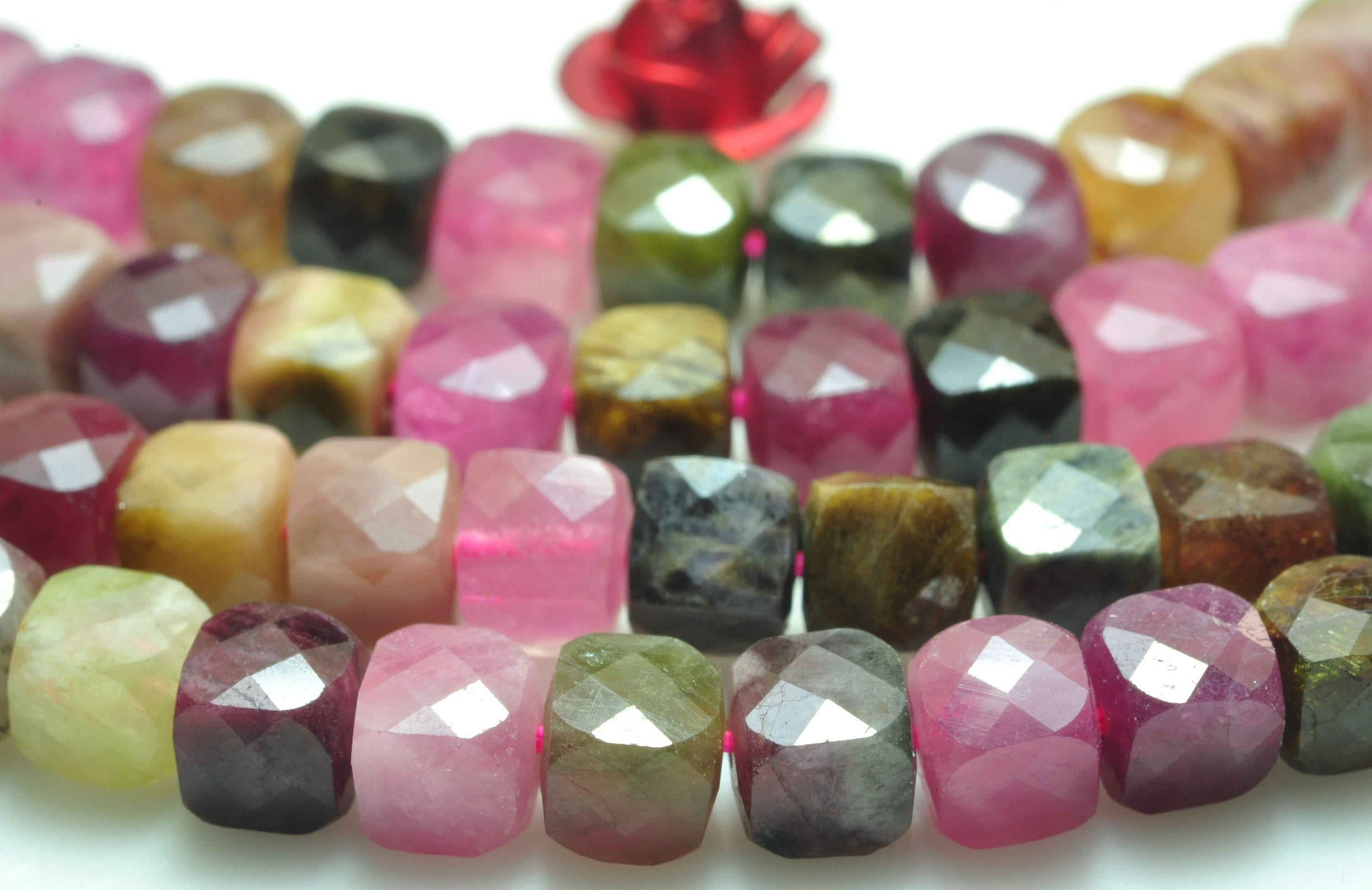 """15.5/"""" Natural Watermelon Crystal Gems Stone Round loose Beads 4mm-12mm Finding"""