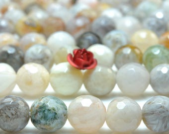 47 pcs of Natural Bamboo leaf agate faceted round beads in 8mm