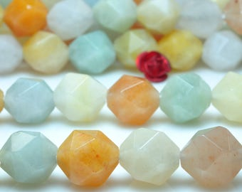 37 Pcs of Natural  Rainbow Chalcedony  Star Nugget faceted  beads in 10mm