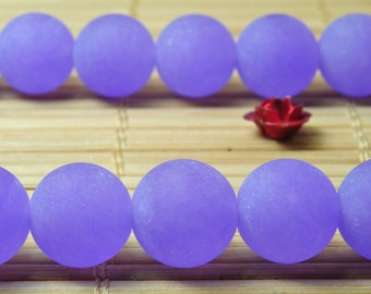 37 pcs of Natural Purple Jade matte round Dyed beads in 10mm