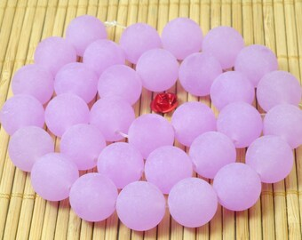47 pcs of Natural  Purple Jade matte round Dyed beads in 8mm