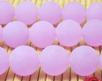 32 pcs of Natural Purple Jade matte round  Dyed beads in 12mm