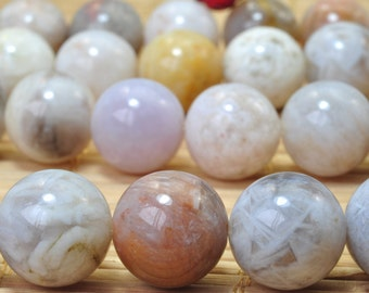 32 pcs of Natural Bamboo leaf agate smooth round beads in 12mm