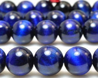 37 pcs of  Blue Tiger Eye smooth round beads in 10mm (05303#)