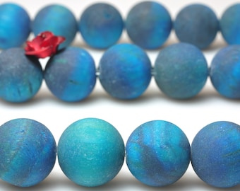 37 pcs of  Blue Tiger Eyes matte round beads in 10mm