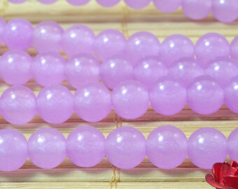 62 pcs of Natural  Purple Jade smooth round Dyed beads in 6mm