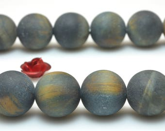 37 pcs of Blue Tiger Eye matte round beads in 10mm (06879#)