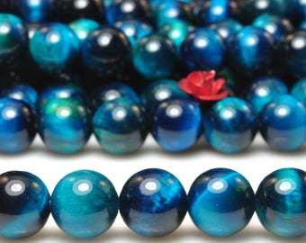 47 pcs of  Blue Tiger Eye smooth round beads in 8mm