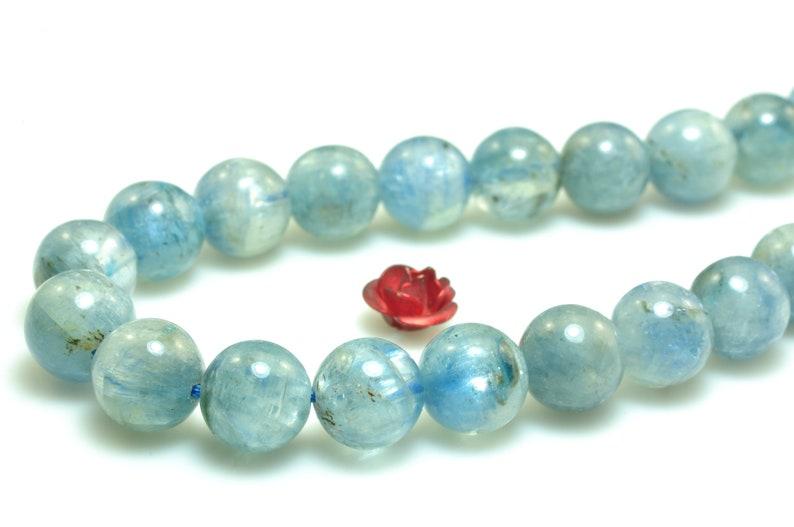 8mm kyanite beads 15inch natural light blue kyanite gemstone 47pcs smooth round beads 15full strand