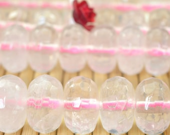 62 pcs of Natural Rose Quartz faceted rondelle beads in 6x10mm