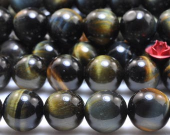 37 pcs of Blue Tiger Eye smooth round beads in 10mm (06531#)