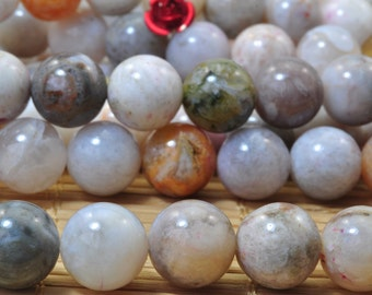 37 pcs of Natural Bamboo leaf agate smooth round beads in 10mm