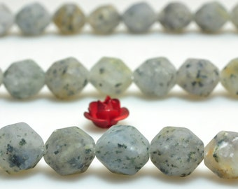 47 pcs of Natural Black dots Agate Faceted Star Cut matte nugget beads in 8mm