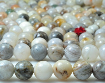 47 pcs of Natural Bamboo leaf agate smooth round beads in 8mm