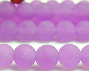 47 pcs of Natural Purple Jade matte Dyed round beads in 8mm (06740#)
