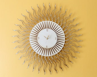 Sun Clock - Large laser cut wooden modern wall clock