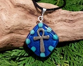 Turquoise Orgone Pendant - Ankh - Handmade Healing Jewelry - Spiritual Gift, Chi, Prana and Energy Balancing Necklace - OOAK - Small