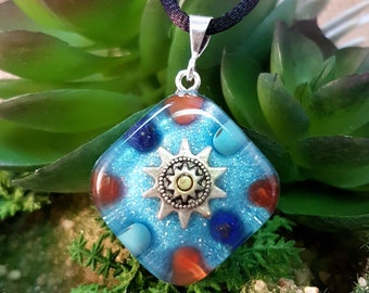 CREATIVITY Orgone Pendant – Carnelian, Lapis Lazuli, Turquoise - Ideas, motivation, self-expression and inspiration - Small