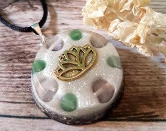 Rose Quartz & Aventurine Energy Pendant - Heart Chakra Necklace - Positive Energy Healing Jewelry - Lotus - OOAK - Large
