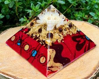 Orgone Pyramid w/ Garnet - Spiritual Decor - Mindfulness Meditation Gift - Empath Protection - African Print Tribal Resin