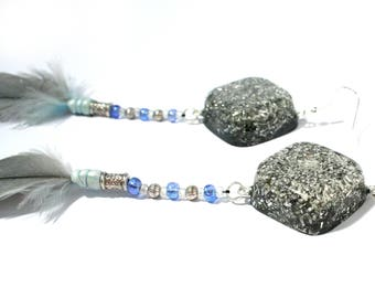 Orgone Earrings - Feather Statement Earrings - Healing Crystals, Lightworker Jewellery, Spiritual Gift, Feng Shui, Balance and Harmony