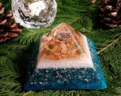Rose Quartz and Jade Orgone Pyramid – AUM - Protection, Balance and Harmony - Spiritual Gift - Feng Shui Decor - OOAK