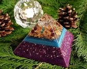 Orgone Pyramid - Amethyst and Turquoise - Buddha - Feng Shui Decor - EMF Protection - Yoga Meditation Aid - OOAK Unique
