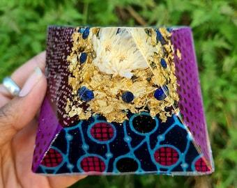 Orgone Pyramid w/ Lapis Lazuli - Spiritual Decor - Mindfulness Meditation Gift - Empath Protection - African Print Tribal - Resin