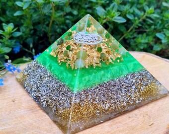 ABUNDANCE Orgone Pyramid – Jade, Aventurine – Attract Wealth, Money and Prosperity - Spiritual Gift/Decor