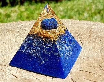 Lapis Lazuli Orgone Pyramid - Spiritual Gift - Feng Shui Decor - EMF Protection - Yoga Meditation Aid - Third Eye Chakra Healing