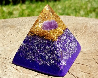Amethyst Orgone Pyramid - Spiritual Gift - Feng Shui Decor - EMF Protection - Yoga Meditation Aid - Crown Chakra