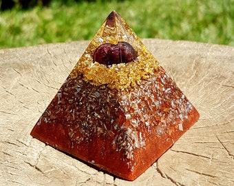 Garnet Orgone Pyramid - Spiritual Gift - Feng Shui Decor - Lightworker Tool - Good Energy and Positive Vibes - Root Chakra