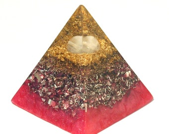 Rose Quartz Orgone Pyramid - Spiritual Gift - Feng Shui Decor - Empath Lightworker Protection - Yoga Meditation Aid - Heart Chakra Healing