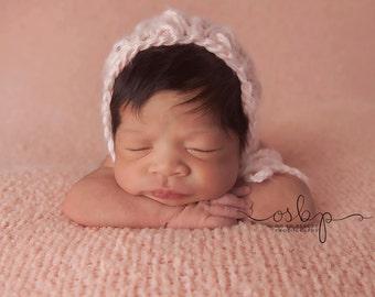 NEWBORN knit bonnet in soft pink