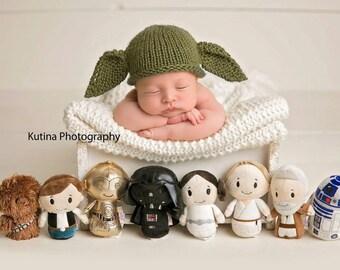 Newborn Knitting PATTERN - Newborn/Reborn size Knit Yoda-cutest baby beanie - Instant Download PDF - Photography Prop