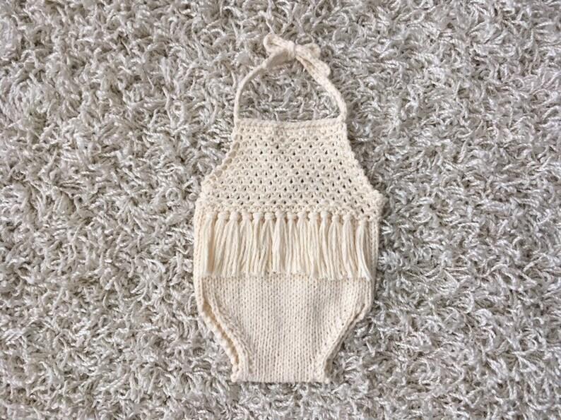 Instant Download PDF Newborn Knitting PATTERN Newborn Size Knit Panache halter style romper Photography Prop   knit romper