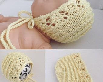 Newborn size knit Del Sol round back bonnet,photo prop,gift,knit,bonnet,ready to ship