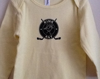 Hockey Rink Rat yellow long sleeve 18-24 month t-shirt
