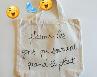 Eco-friendly bag, rain, handpainted, cotton tote bag