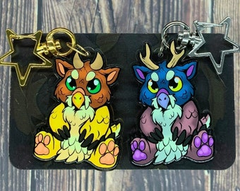 """Angry Baby Moonkin Doubled-Sided Acrylic Charm 2.81"""", 2.59"""""""
