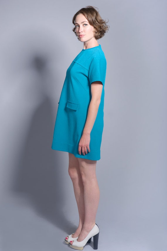1960's Mod Style Turquoise Dress