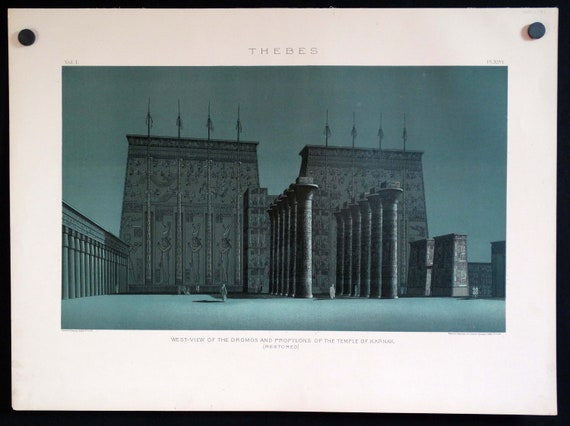 Antique Egyptian Art 18 x 25 1887 Litho Plate from Samuel Binion/'s Ancient Egypt or Mizrain Book