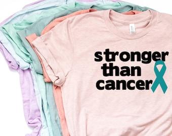 4081a2c7 Ovarian Cancer Shirt, Stronger Than Cancer, Ovarian Cancer, Ovarian Cancer  Awareness, Cancer T Shirt, Ovarian Cancer Support - Item 256