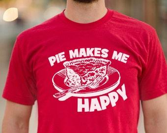 09bdbf47 Unisex Food Lover Shirt - Pie Makes Me Happy - Soft American Apparel Poly  Cotton T-Shirt - Unisex - Item 1938