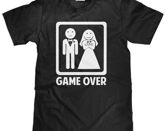 50c30e8e Funny New Husband Shirt - New Wife Tee Shirt - Couple's Gaming T Shirt -  Funny Wedding Shirt - Groom Game Over Marriage T Shirt - Item 1394
