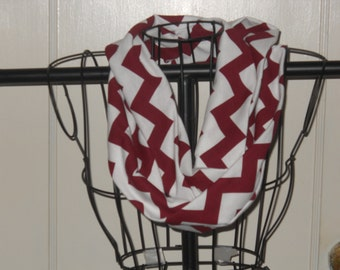 Maroon and White Chevron Infinity Scarf, Jersey Cotton Knit